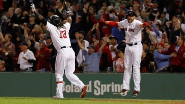 Sep 15, 2016; Boston, MA, USA; Boston Red Sox first baseman Hanley Ramirez (13) reacts after hitting a three run home run to win the game against the New York Yankees in the ninth inning at Fenway Park. The Red Sox defeated the Yankees 7-5. Mandatory Credit: David Butler II-USA TODAY Sports